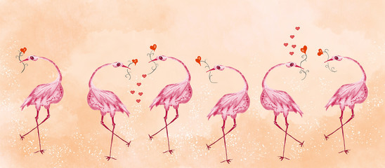 Birds. Love concept. Painting bacground.