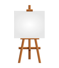 Blank art board and realistic wooden easel. Wooden Brown  Easel with Mock Up Empty Blank Square Canvas Isolated on white background. Vector illustration..