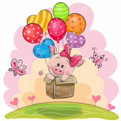Piggy girl in the box is flying on balloons