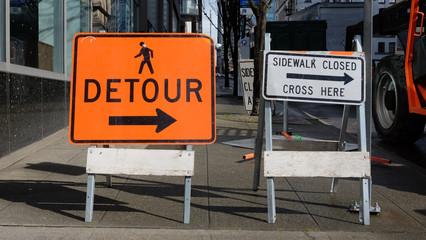 Urban Detour Sidewalk Closed Signs