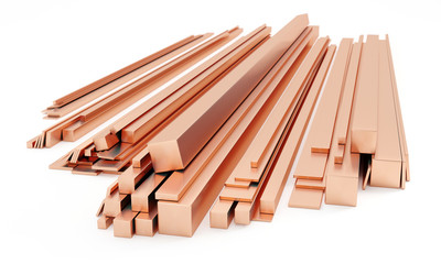 Stack of copper bars isolated on white. Different sizes - 3D illustration