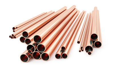 Stack of copper tubes isolated on white. Different sizes and diameters - 3D illustration