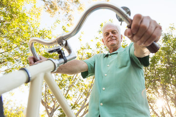 Healthy Older Man Riding a Bike