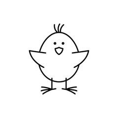 baby chicken happy line black icon