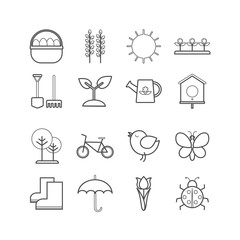 Collection of vector outline springtime icons for web, print, mobile apps design