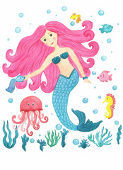 Mermaid with pink hair