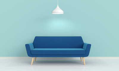 blue sofa and lamp in living room, 3D rendering