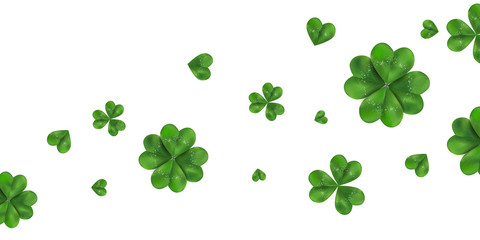Happy St. Patrick's day vector horizontal background with shamrock, four leaved clover isolated on white background.