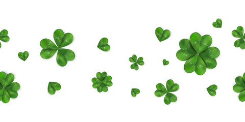 Happy St. Patrick's day vector horizontal seamless background with shamrock, four leaved clover isolated on white background.