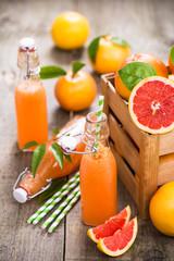 Grapefruit juice in the bottle