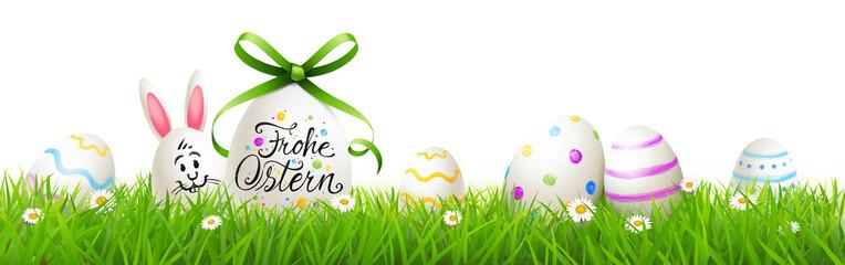 Frohe Ostern Grußkarte - Osterei mit Kalligraphie, Osterhase, bunt bemalten Ostereiern und Blumenwiese