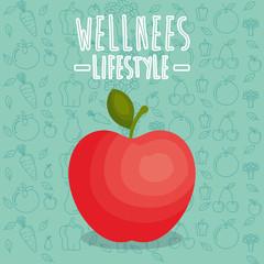 apple fresh wellness lifestyle vector illustration design