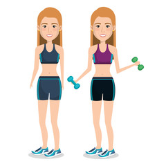 female athlete weight lifting vector illustration design