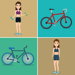 female athletes with bicycles icons vector illustration design