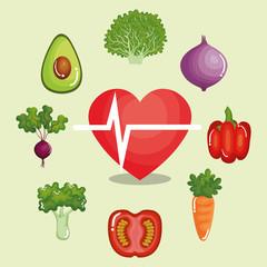 heart cardio with healthy food vector illustration design