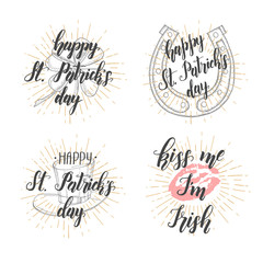 "Happy Saint Patrick's Day. Lettering Set. Celebration design for March, 17th. Hand drawn lettering ""Happy Saint Patrick's Day"",""Kiss me I'm Irish"""