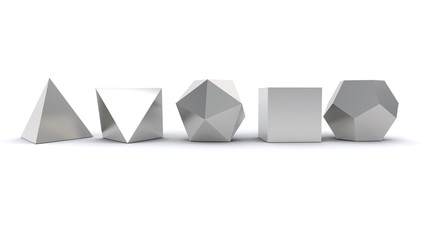 3D illustration of Platonic solids