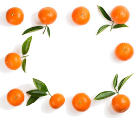 Whole tangerines, above view.