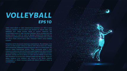 A volley of particles. Volleyball consists of dots and circles. Blue volleyball on a dark background.
