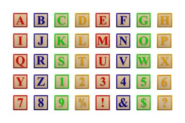 Wooden letter blocks alphabet face on - 3D render