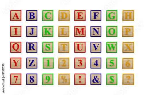 wooden letter blocks alphabet face on 3d render