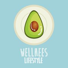 avocado vegetable wellness lifestyle vector illustration design
