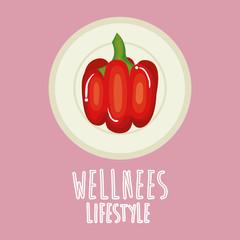 pepper vegetable wellness lifestyle vector illustration design