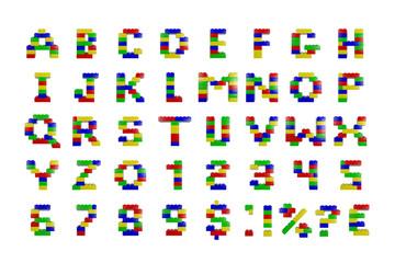 Toy building block alphabet 3d render