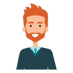 elegant businessman with beard avatar character vector illustration design