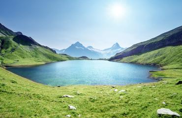 Foto auf AluDibond Gebirge Schreckhorn and Wetterhorn from Bachalpsee lake,Bernese Oberland,Switzerland