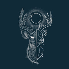 portrait of deer engraving and polygon style. constellation and sun. vintage retro style, sketch for print on clothes