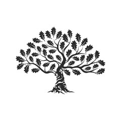 Huge and sacred oak tree silhouette logo badge isolated on white background