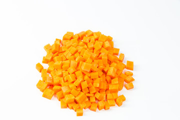 a pile of diced carrot
