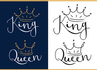 Queen and king. Black text logo with royal crown and tiara. Doodle illustration, hand drawn design element isolated on white background. Royal print: t-shirt, cup, pillow, wedding invitation, poster.