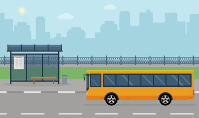 Bus stop and bus on city background. Vector illustration. Flat style concept of public transport.