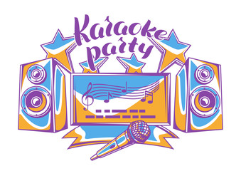 Karaoke party design. Music event background. Illustration in retro style