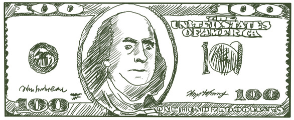 One hundred dollars of the USA. Sketch by a ball-point pen