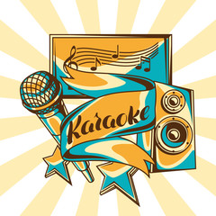 Karaoke party design. Music event background. Illustration with microphone and acoustics in retro style