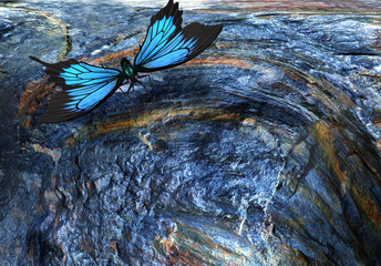 Abstract image: the flight of a butterfly. 3D rendering.