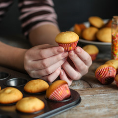 muffins (cupcakes) - fresh pastries on a wooden surface. copy space
