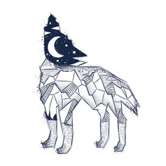 wailing wolf, a mountain landscape, a forest, a night and a moon. sketch for print on T-shirt, magic, isotherica, hipster style, vector graphics