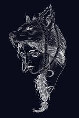 abstract portrait of a female witch with a wolf head. vintage retro style engraving. sketch for printing on clothes. vector