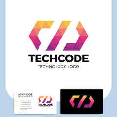 Code or coding Logo of a stylized triangle shape built with colorful polygons