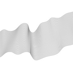 Abstract wave element for design. Stylized line art background. Vector illustration. Curved wavy line, smooth stripes.