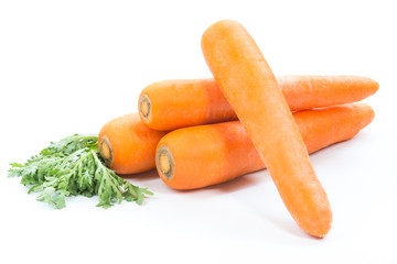 carrot and carrot slice on white background