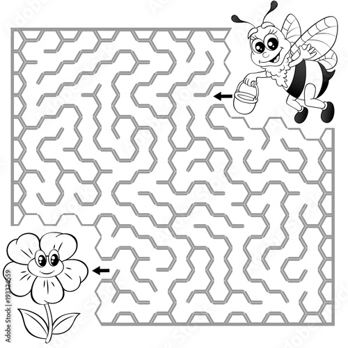 Help Bee Find Path To Flower Labyrinth Maze Game For Kids Black And