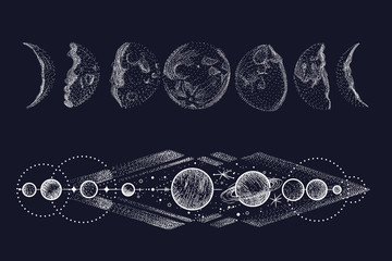 Vector illustration set of moon phases. Different stages of moonlight activity in vintage engraving style