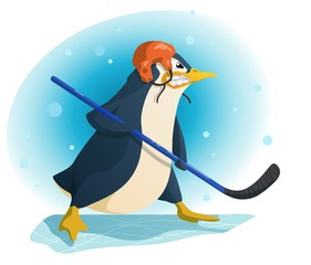 Aggressive penguin hockey player, cartoon vector illustration