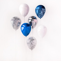 Set of blue and silver glossy balloons on the stick with sparkles on white background. 3D render for birthday, party, wedding or promotion banners or posters. Vibrant and realistic illustration.