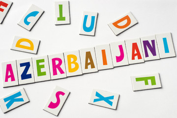 word azerbaijani made of colorful letters